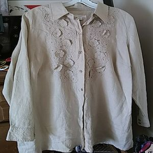 Charter Club Woman Blouse 1X Linen